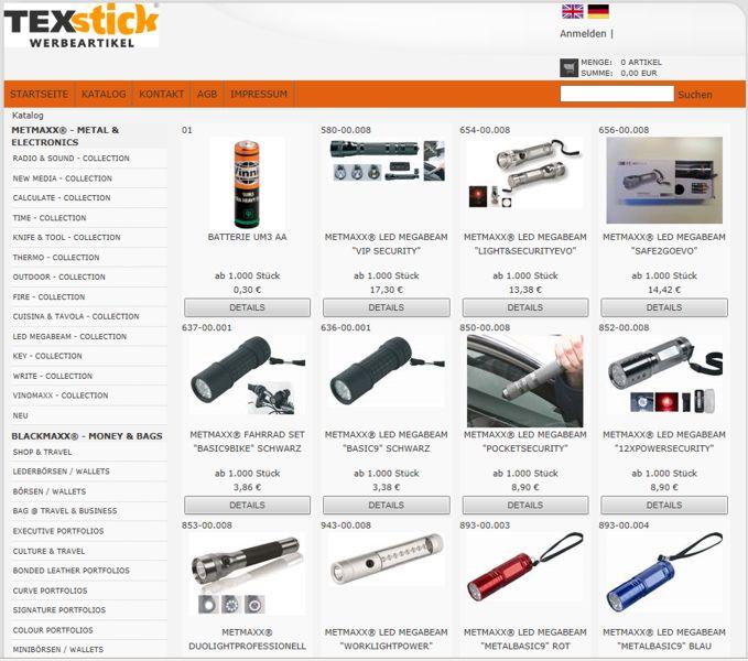 Webshop für Werbemittel von TEXstick® TEXTILWERBUNG
