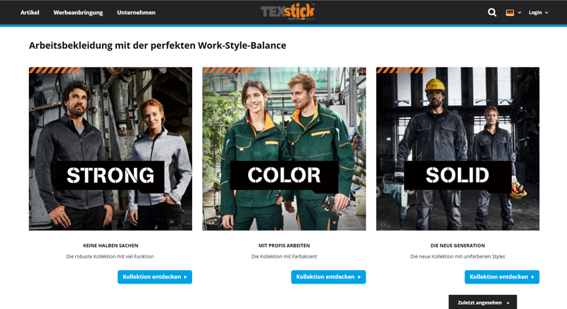 Webshop-Promotionseite Workwear James & Nicholson by TEXstick®